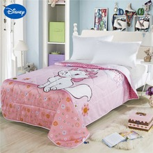 Pink Marie Cat Printing Summer Quilts Comforters Children's Girls Disney Character Bedding Cotton Fabric Single Twin Queen Size(China)