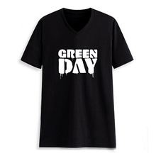 Rock Music Green Day Blood Man V Neck Letter Print T shirt Male Tshirt Men TeeShirts Hiphop Skateboard Black 2017 Summer Clothes