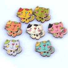 50pcs 6 items animal Pattern diy Wooden buttons Botones Handmade Accessories Decoration Scrapbooking Crafts 20-25mm MT1522(China)