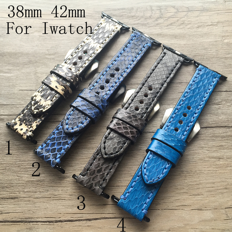 38mm 42mm Apple Watch Strap,Special Design Handmade Raw Python Genuine Leather Watch Strap For Iwatch Apple watch With Adapter<br>