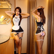 Sexy Maid Costumes Women Erotic Lingerie Sexy 3 Colors Transparent Lace Voile French Maid Cosplay Lingerie Halloween Uniform