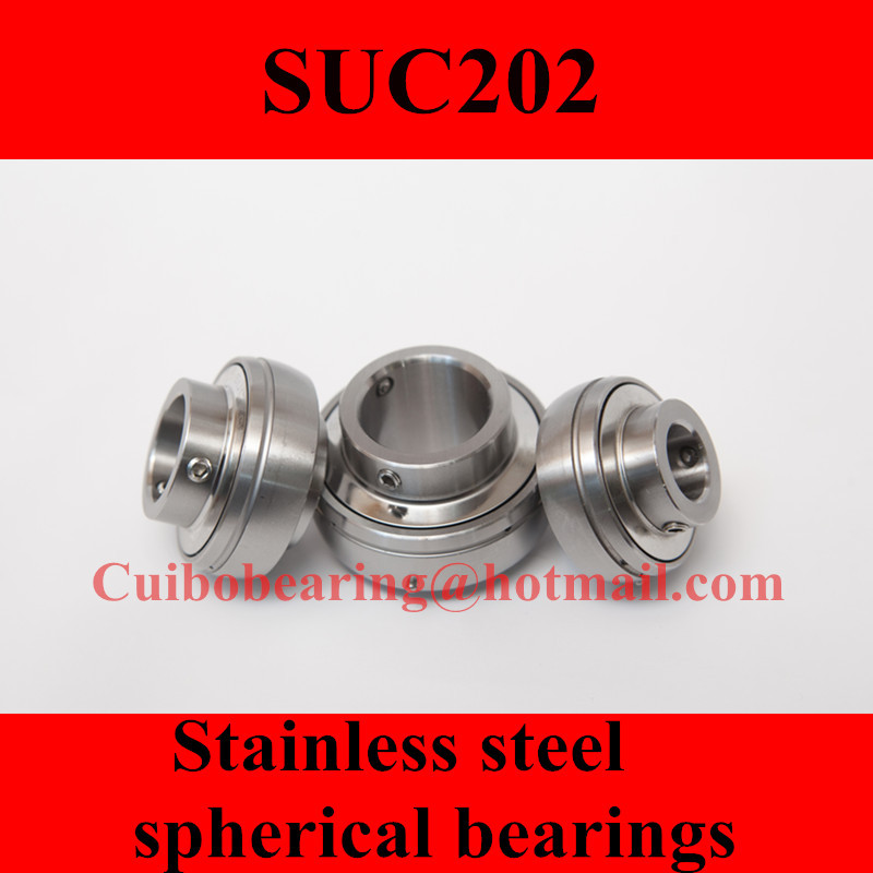 Freeshipping Stainless steel spherical bearings SUC202 UC202 15*47*31mm<br>