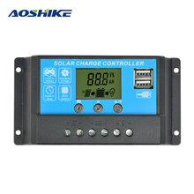 Aoshike Flexible Solar Panel Controller 12V24V15A Painel Solar Battery Charger Regulator Switching Controller LCD Displyer(China)