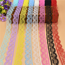 10 Yards Beautiful Lace Ribbon Tape 22MM Lace Trim Fabric DIY Embroidered Net  Lace For Sewing Decoration 11 Colors lace fabric