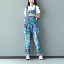 Women Gradient Printed Holes Vintage Jumpsuits Ladies Denim Loose Overalls Female Rompers Denim Trousers Pants Colorful