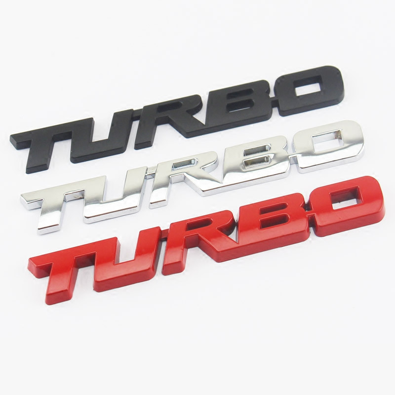 3D Metal TURBO Emblem Car Styling Sticker Body Rear Tailgate Badge For VW skoda Seat Peugeot DS Renault Hyundai Buick Porsche(China)