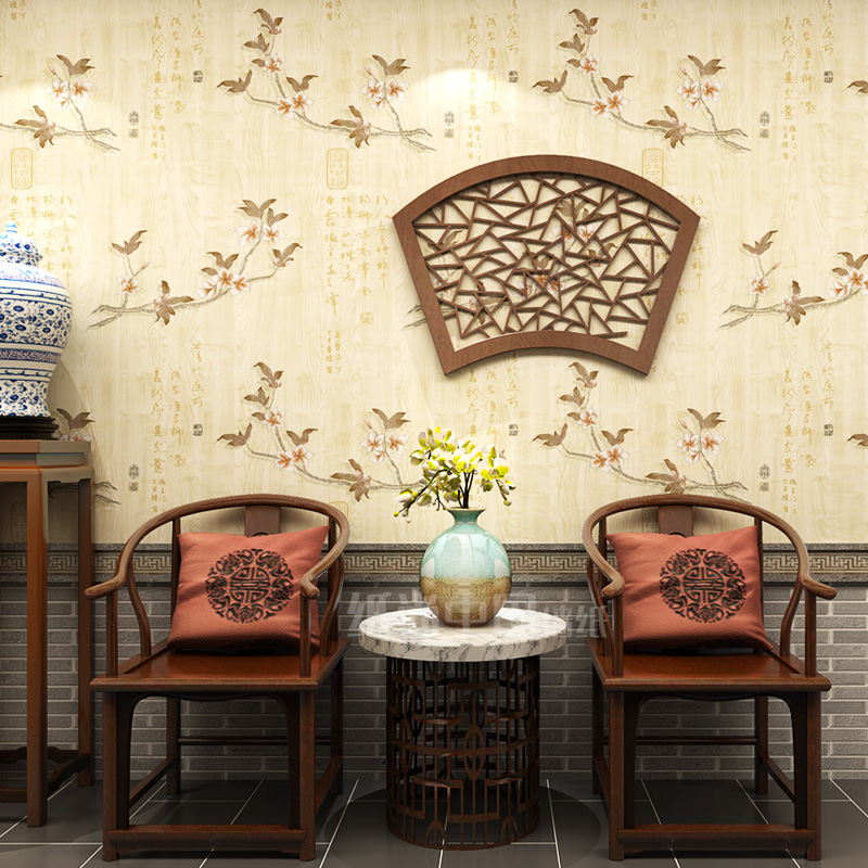 Chinese Wallpapers Classical Tea Room Nonwovens Living Room Study Hotel Recipes Restaurant Background Wallpaper Grain Retro<br>