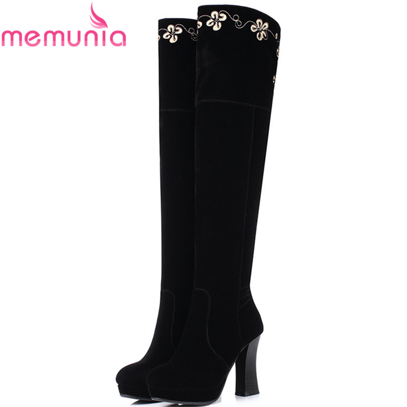 MEMUNIA  Over the knee boots for women fashion platform boots flock solid embroidery in spring autumn shoes high heels boots<br>