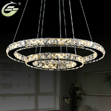 Hot Sale Modern Two Circles LED Crystal Chandelier Light Pendant With Dia.400+200XH650mm Position Diamond Ring Free Shipping