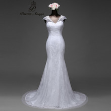Buy Poemssongs 2017 Sexy lace flowers short sleeves mermaid wedding dress satin vestido de noiva ball gown robe de mariage for $74.20 in AliExpress store