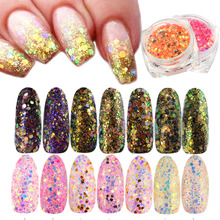 1 box Holographic Glitter Powder Nail Art Summer Colorful DIY Mixed Hexagonal Sequins Paillette Flakes Nail Art Decor CHT11-35