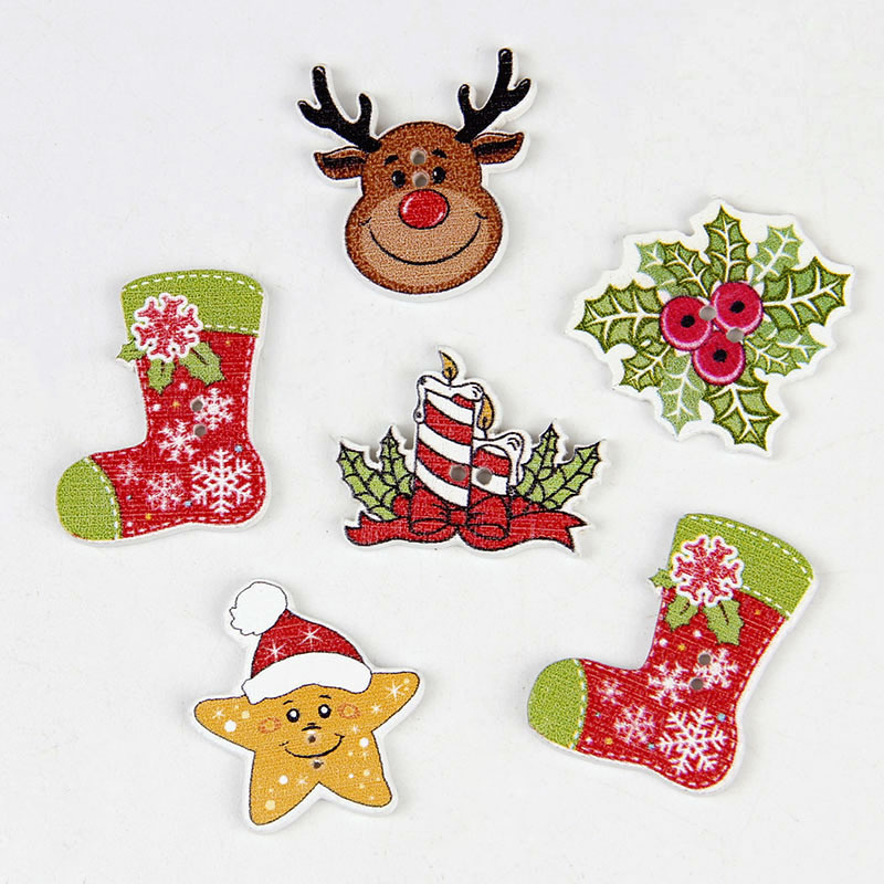 Clothing DIY Craft Decor Santa Claus Elk Mixed Sewing Buttons 2 Holes Wooden