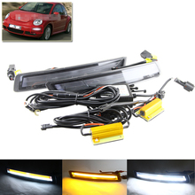 Brand New Xenon White Led Specific Daytime Running Lights For VW Beetle 2006-2010 W/ Amber Turn Signal Lights Multi-Function