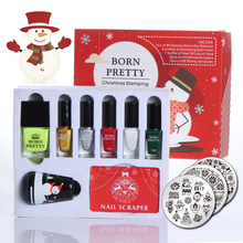 12pcs/set BORN PRETTY Christmas Stamping Nail Art Set with Xmas Theme Stamp Template Stamper & Scraper & Polish Xmas Gifts Set