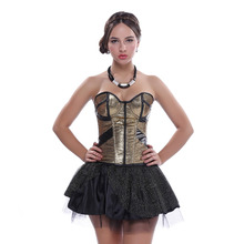 Gold Faux Leather party Corset Sexy Cup Zipper Sequins Carnival Dress Lace Showtime Mini Skirt Showgirl S-2XL Suit