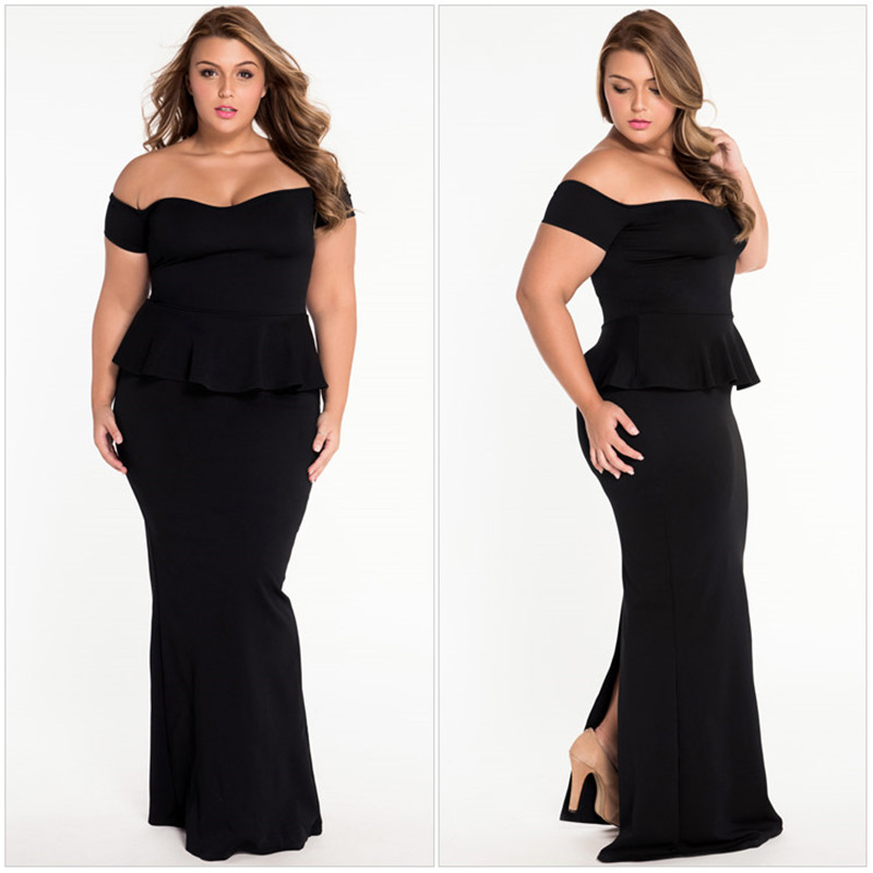 Plus Size Women Sexy Dress Solid Shoulder Ruffles Mermaid Dress Fake Two Piece Asymmetrical Collar Floor-length Vestidos