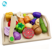 Logwood Baby Wooden toys Pretend Play kitchen toys cutting Fruit and Vegetable education food toys for kid Mother garden childre(China)