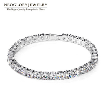 Neoglory Zircon Charm Bangles & Bracelets For Women Girls Snaps Bridesmaid Fashion Jewelry 2017 New