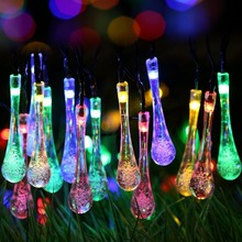 Fairy waterproof plastic 6m 30 leds water drop solar string lights for garden Christmas decoration(China)