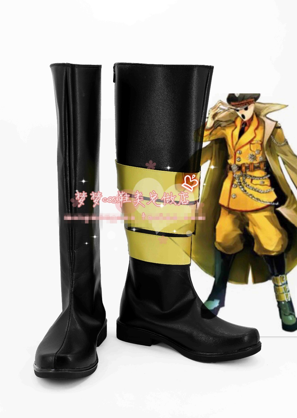 Free Shipping Overlord Pandora's Actor Cosplay Shoes Halloween Black High Boots Custom-made