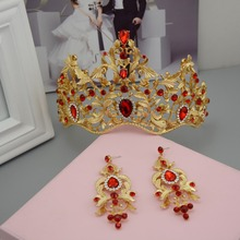 New Fashion Classic Golden Bridal Tiaras Earrings Set Red Green Crystal Diadem for Bride Wedding Hair Jewelry Crown Accessories