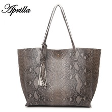 Aprilla Women new fashion shoulder bag serpentine pattern Casual Tote Handbags PU leather snake pattern bag HQ12