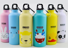 500ML Portable Sports Bicycle Water bottle Lovely Animal Outdoor Top Cycling Camping Bicycle Aluminum Alloy kids Water bottle(China)