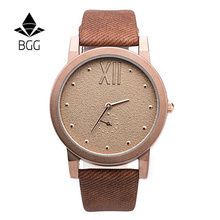 Bgg Famous Brand Women Watch Factory Direct Price Canvas Design Leather Strap Watch Abrasive Dial Men Women Watch Fashion Watch
