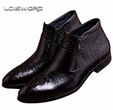 Buy LOISWORD Crocodile Grain brown tan / black mens ankle boots embossed genuine leather dress boots autumn mens wedding shoes for $94.32 in AliExpress store