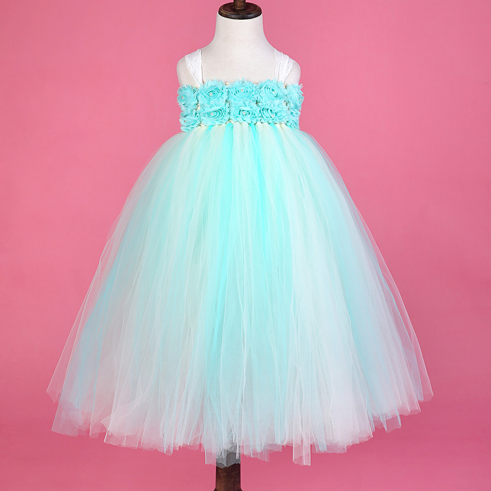 Mint Green Beige Princess Flower Girls Tutu Dress with Lace Straps Girls Evening Dress For Party Birthday Wedding<br>