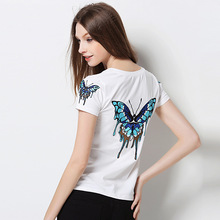 2017 Women tops embroidery design butterfly t shirts women short sleeve tee shirt comfortable female students t-shirts teenagers