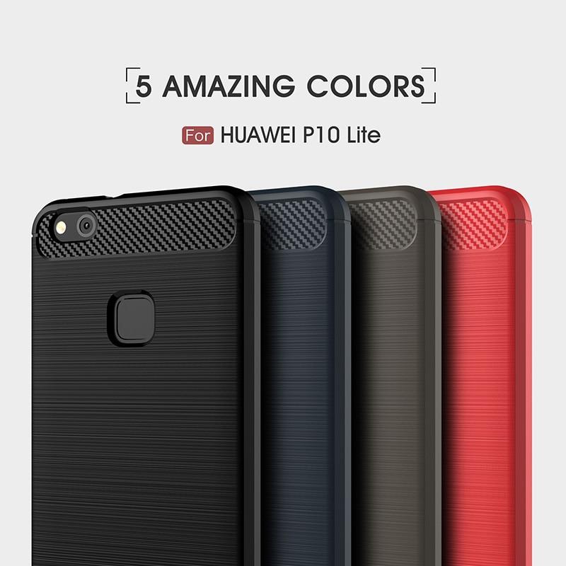 carbon fiber brushed silicone case huawei P10 Lite (8)