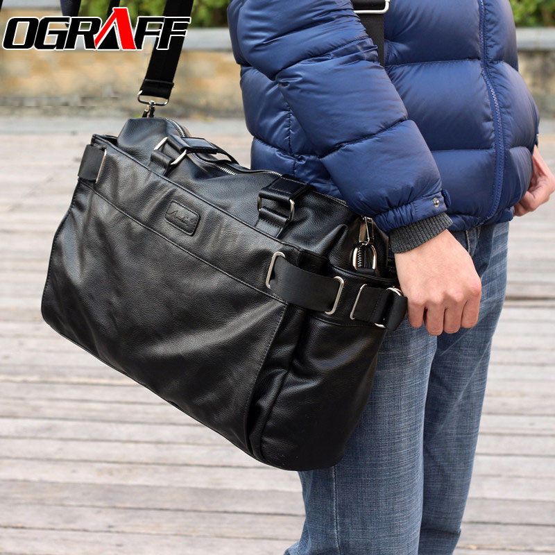OGRAFF 2017 Men bag designer brand Men messenger bags fashion leather man bags big size shoulder bag high quality black vintage