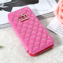 Luxury Sweet Pink Case For iPhone 7 6 Plus Crown Grid Cover Coque For iPhone 7 PU Leather Flip Phone Cases For iPhone 7 Plus
