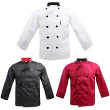 Men Women Stand Collar Double Breasted Long Sleeve Chef Jacket Coat Uniform