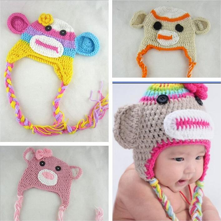 New Winter Cute Animal Shaped monkey Baby Hats For 0-24 momths old Unisex Knitting Winter Cap For Children to Keep Warm(China)