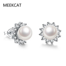 MEEKCAT Big Simulated Pearl Stud Earrings Flower White Gold Color Hollow Earring Tiny CZ Jewelry For Women Brincos Gift