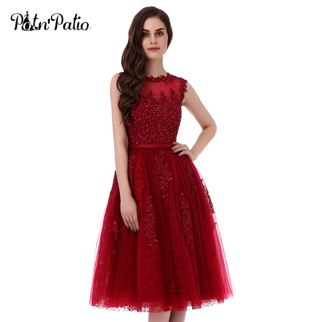 Potn Patio Short Prom Dresses 2017 Wine Red Plus Size High Quality 6 Layers Luxury