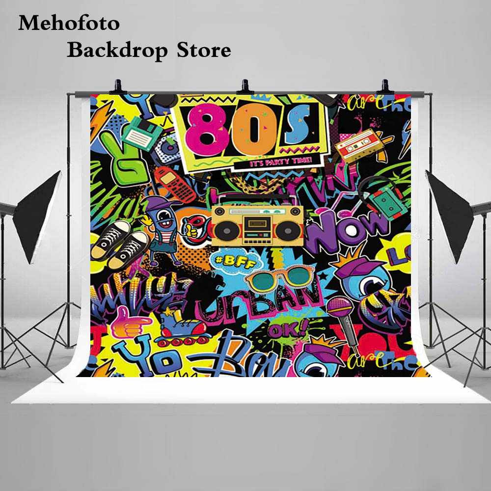 Detail feedback questions about mehofoto 7x5 80s background for graffiti wall photography hip hop theme party photo booth backdrop studio g 430 on
