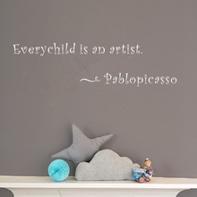 Every Child Is An Artist By Pablo Picasso- Kids Room Wall Quotes Decals, Vinyl Lettering Stickers Art Home Decor For Children