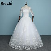 Buy 2017 New Arrival Engerla Half Sleeve Lace Wedding Dress Boat Neck Bride Gown Lace Ball Gown Princess Simple Wedding Frock for $48.37 in AliExpress store