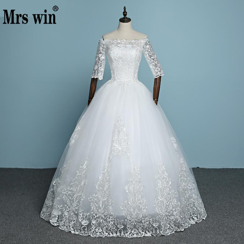 2019 New Arrival Engerla Half Sleeve Lace Wedding Dress Boat Neck Bride Gown Lace Up Ball Gown Princess Simple Wedding Frock