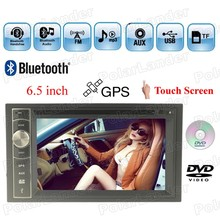 Car DVD 2 Din 6.5'' steering wheel control GPS navigation Touch Screen Bluetooth Radio MP4 MP5 7 languages FM/AM/USB/AUX/TF