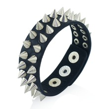 Gothic Delicate Cuspidal Spikes Rivet Cone Stud Cuff Black Leather  bracelets & bangles Punk Bracelet for women men jewelry S266