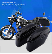 Oversea 2PCS Motorcycle Cruiser Hard Trunk Saddle Bag Box Side Luggage for Harley(China)