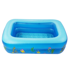Kid Baby's Bathtub Baby Swimming Pool Cartoon Underwater World Pattern Printed Inflatable Aerated Square Newborn's Swimming Pool