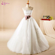 Buy Waulizane Shoulder Strapless Ball Gown Wedding Dresses Floor-Length Appliques Lace Bow Sashes Princess Bridal Gowns for $195.78 in AliExpress store