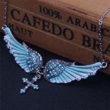 Fashion Crystal Angel Wing Chain Necklace For Women Bridal Wedding Jewelry Gift Cross Pendant Necklace