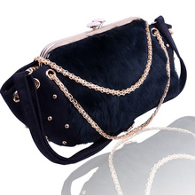 2018 New Rabbit Fur Women Chain Handbags Antler Skin Luxury Crossbody Bag Large Capacity Totes Fashion With Perfect Quality Bags(China)
