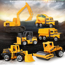6PCS/LOT Diecast Model Construction Vehicle Toys For Boys Engineering Car Dump-car Dump Truck Model Classic Toy Cars Gift(China)